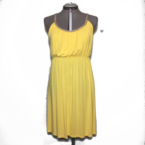 8bd80e74899 Style & Co Dresses | Yellow Jersey Knit Dress With Gold Braided Trim ...